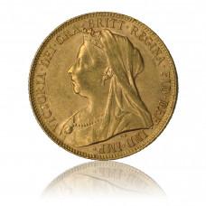 Goldmünze, 1 Sovereign, Victoria (Schleier)
