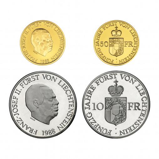 Münzsatz Liechtenstein 50 10 Franken 1988 Numismatik