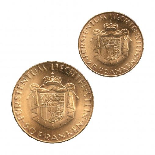 Coin set Liechtenstein 25 & 50 Francs 1961 - Numismatic